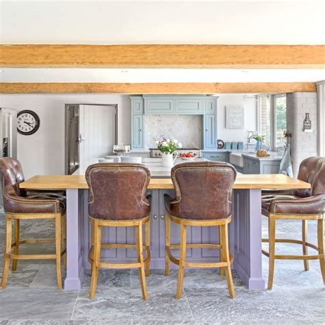 Country Kitchen Stools by Open Plan Country Kitchen With Leather Bar Stools