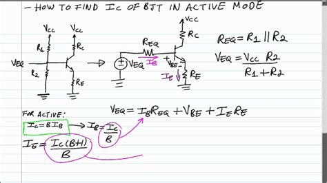 how to calculate resistor for transistor bjt q point formula for collector current in active mode 4 resistor bias network