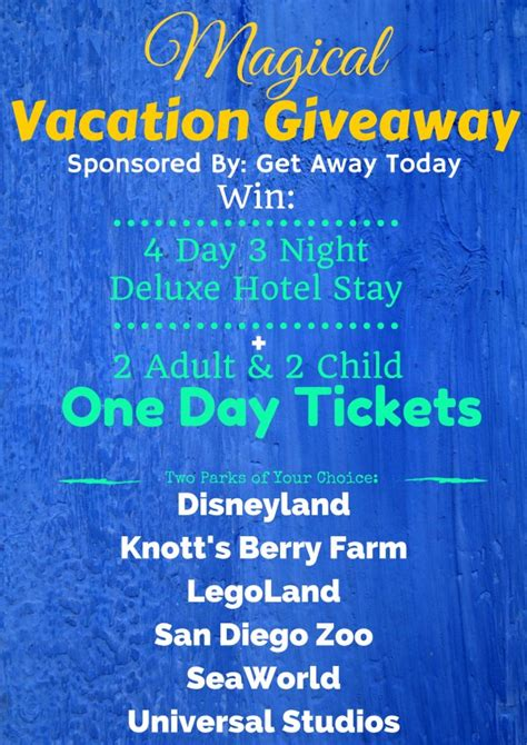 Disneyland Ticket Giveaway - magical vacation giveaway win tickets to disneyland