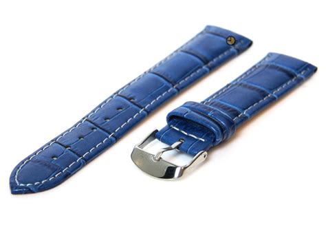 Hb Croco Doff Blue watchstrap blue 18mm calf leather sale