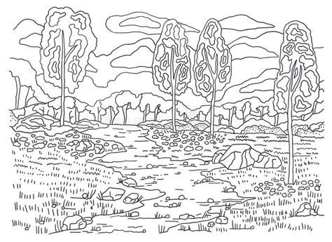 autumn landscape coloring pages template for coloring autumn coloring landscape painting