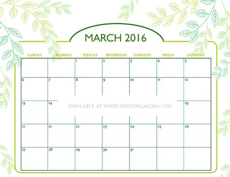 Calendar Printable 2016 March Free Printable Calendars For March 2016