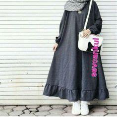 Jumpsuit Dress Maxi Wanita Muslim Polos Avara Xl Biru Coklat grey jumpsuit black shirt black scarf 2016 winter scarves gray and black