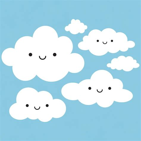 Kids Space Wall Stickers clouds wall decal sky theme and super cute cloud decals