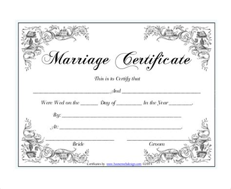 free printable marriage certificate template 30 wedding certificate templates free sle exle
