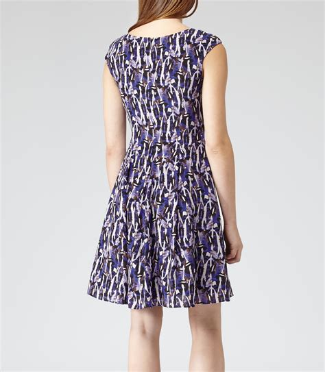 Abstract Flare Mini Dress lyst reiss allegra abstract print flare dress in blue