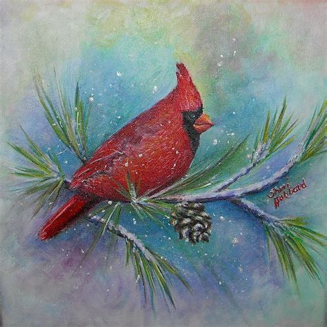 painting delta cardinal and delta snow painting by sheri hubbard