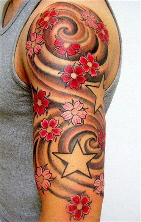 cherry blossom sleeve tattoo designs filler idea tattoos colors
