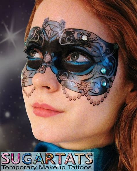 tattoo new years eve etsy blue crystal carnival mask temporary makeup tattoo