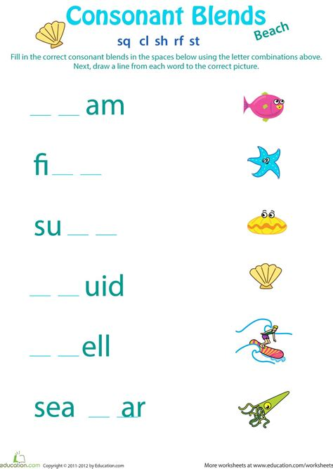 consonant blends worksheets for second grade homeshealth