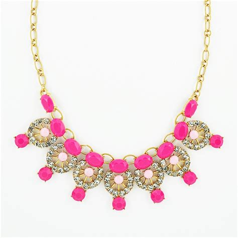 Double Gem Collar Necklace   pink necklace bib with resin & rhinestones by Shamelessly Sparkly