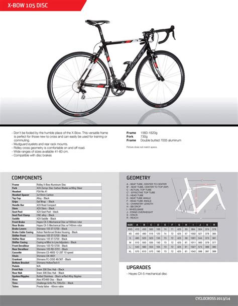 ridley pdf spec sheet ridley x bow 105 disc cyclocross bike 2014