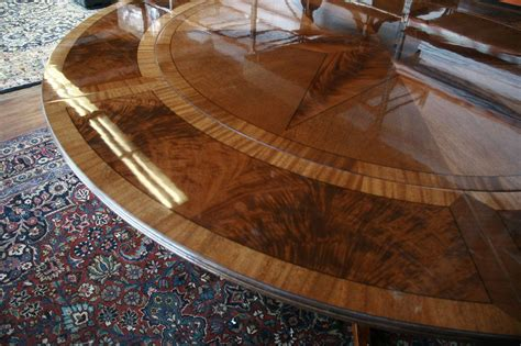 Round Dining Room Table With Leaves by Large Round Mahogany Dining Table W Leaves Perimeter Ebay