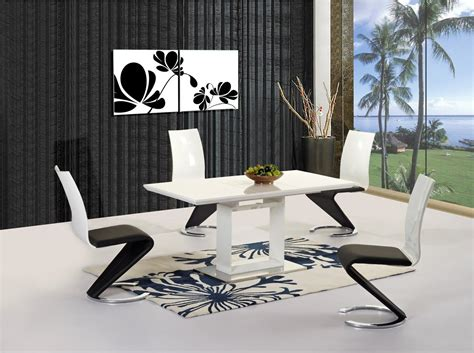 white extending high gloss dining table and 6 chairs