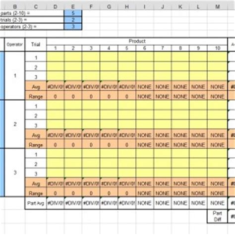 Gage R R Excel Template by Gage R R Excel Template Isixsigma Marketplace