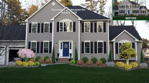 colonial home front yard landscape design lakeville ma colonial home landscapes pinterest