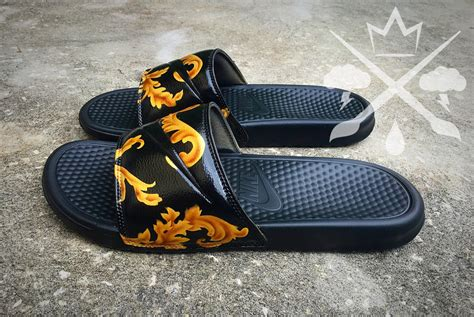custom slide sandals nike custom black supreme benassi swoosh slide sandals