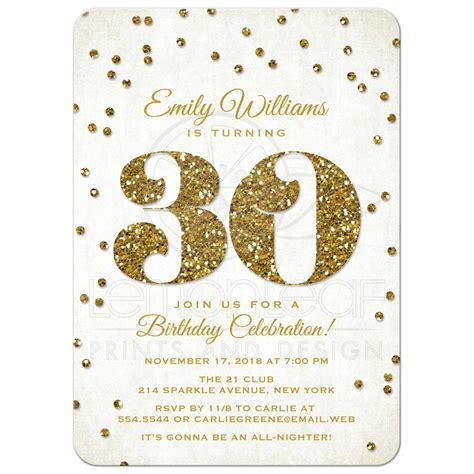30th Birthday Party Invitations Gold Glitter Look Confetti 30th Birthday Flyer Templates