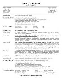 Pilot Resume Exles by Airline Pilot Hiring Exle Resume