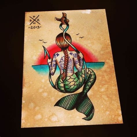 old school mermaid tattoo designs school colored mermaid from back sitting on a
