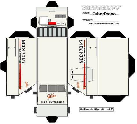 Papercraft Trek - cubee shuttlecraft galileo pt1 by cyberdrone deviantart