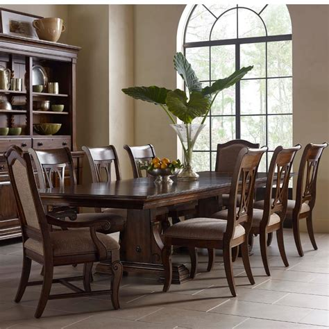 kincaid furniture portolone piece trestle table harp chairs upholstered host chairs set hudsons furniture dining