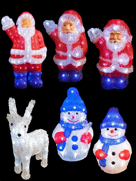 led acrylic christmas figures light up 3d santa snowman