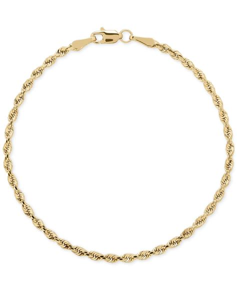 macy s rope chain bracelet in 14k gold 2 1 2mm in pink