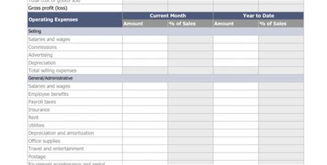 income expense statement template income and expense statement template free personal income