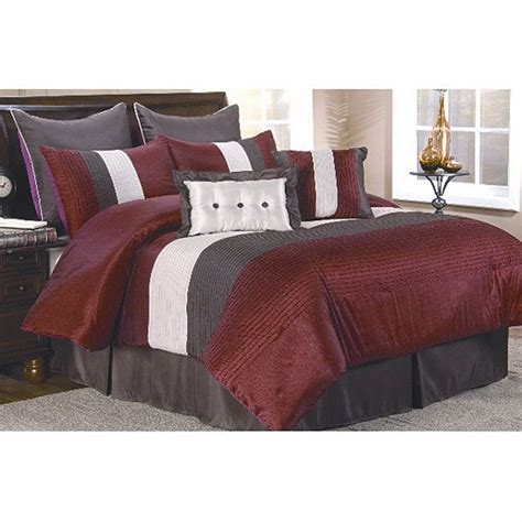 burgundy comforters 8pc regatta burgundy grey cream striped design comforter