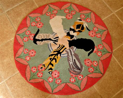 cats on rugs hooked wool rug cats and saucer design pink green flowers rugs carpets