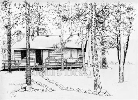 cabin drawings quot colored pen and ink drawing painting of a cabin in the