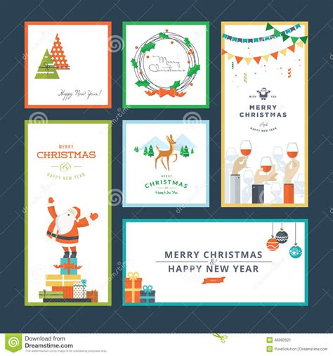 new year postcard template set of flat design and new year greeting card