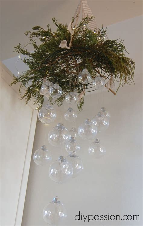 hometalk diy clear ornament hanging chandelier