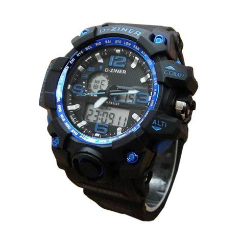 Terlaris Jam Tangan Pria Weide Black Dual Time Zone Original Wat harga d ziner dz0533 dual time karet jam tangan pria