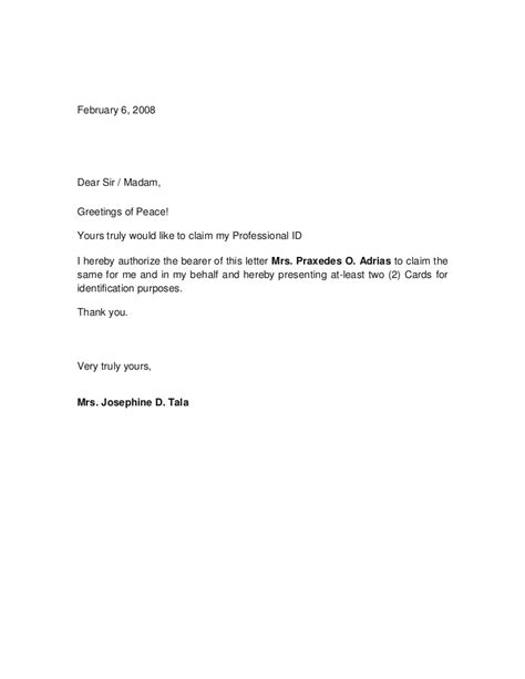 authorization letter by company authorization letter