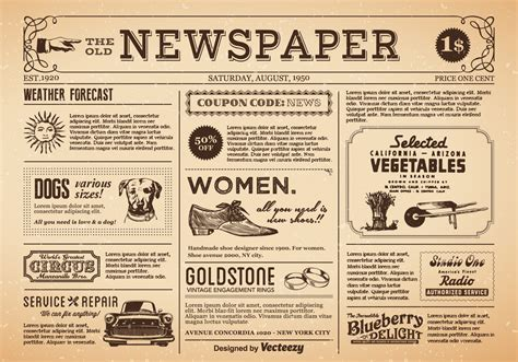 Old Newspaper Vector Download Free Vector Art Stock Graphics Images Newspaper Style Menu Template