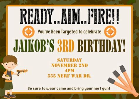 Nerf Gun Birthday Party Invitations Dolanpedia Invitations Template Nerf Gun Birthday Invitation Template