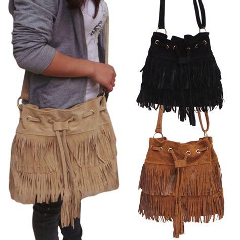 Tas Wanita Imitation Suede Fringe Tassel Shoulder Handbag Suede Drawstring Bag Handbag Faux Fringe
