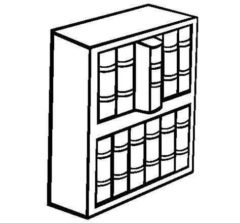 Colored Page Bookstore Painted By Book Shelf Shelf Coloring Page