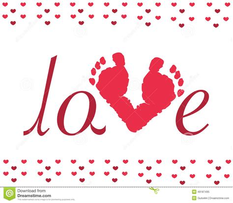 valentines day baby day baby footprints vector stock vector