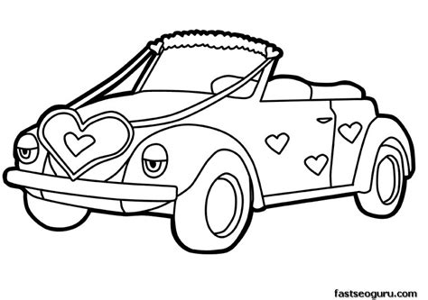 cars valentine coloring pages printable cute car decorations with hearts valentines day