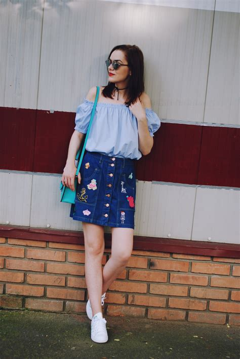 how to rock your patched denim skirt couturezilla