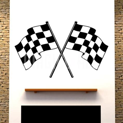Custom Wall Murals Canada wall decals two crossed checkered flags wall stickers