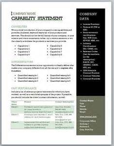 capability statement template word free capability statement template black and olive