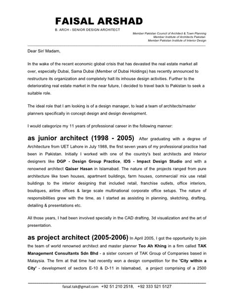Cover Letter Senior Architect Position Faisal Arshad Cover Letter Jan 09fnl