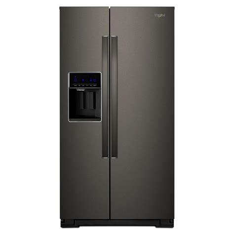 whirlpool 36 in w 21 cu ft side by side refrigerator in fingerprint resistant black stainless