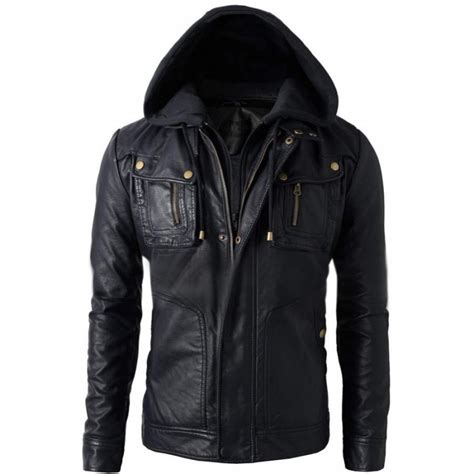leather biker jackets for sale mens black faux leather jacket with hood