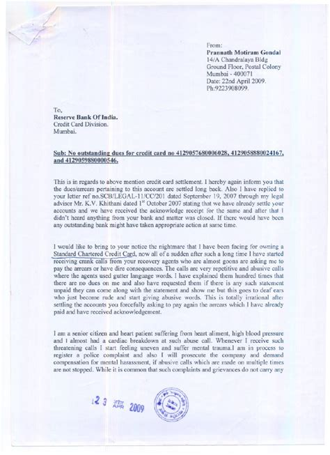 Standard Chartered Bank Letter Of Credit Department Mumbai Standard Chartered Bank Complaint Letter To Reserve Bank Prannath