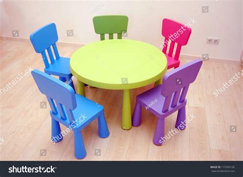 preschool and chairs five chairs kindergarten preschool classroom stock